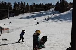 Snowboarding at Poley Mountain